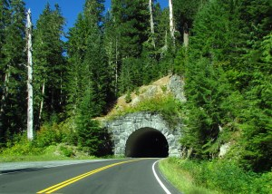 Driving through Mount Ranier National Park