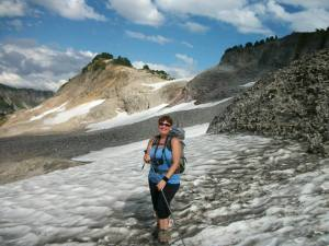 (pic by Kent Doughty) Rose crossing snow field on the way to Ptarmigan Ridge