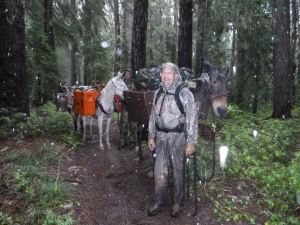 Elk Hunters with pack horses retreating