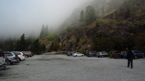 Foggy at the trailhead parking lot