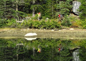 Hikers along Nada Lake