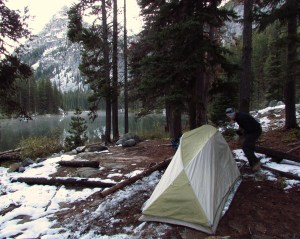 Setting up camp at Nada Lake